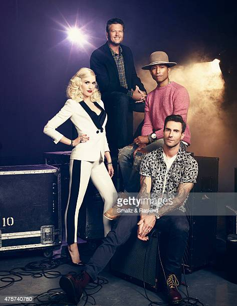 Adam Levine Gwen Stefani Pharrell Williams Blake Shelton for Billboard Magazine on September 9 2014 in Los Angeles California COVER IMAGE