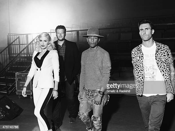 Adam Levine Gwen Stefani Pharrell Williams Blake Shelton for Billboard Magazine on September 9 2014 in Los Angeles California