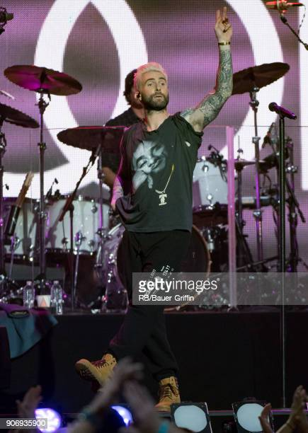Adam Levine is seen at 'Jimmy Kimmel Live' on January 18 2018 in Los Angeles California