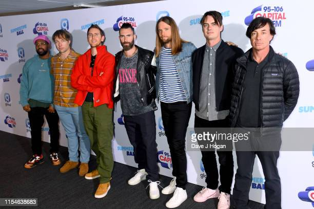 Adam Levine, Jesse Carmichael, Mickey Madden, James Valentine, Matt Flynn, PJ Morton, and Sam Farrar of Maroon 5 attend the Capital FM Summertime...