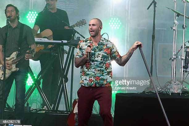 Adam Levine lead singer of Maroon 5 performs during beach concert on August 16 2015 in Atlantic City New Jersey