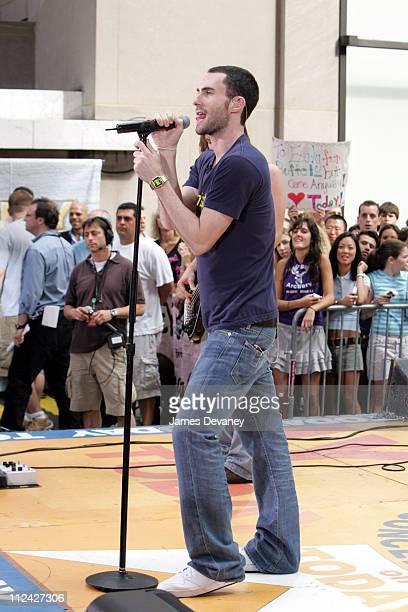 Adam Levine Maroon 5 during Maroon 5 Performs on 'The Today Show' Summer Concert Series June 18 2004 at NBC Studios Rockefeller Plaza in New York...
