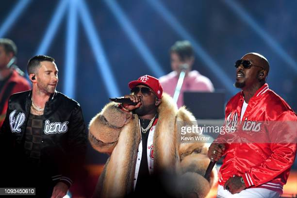 Adam Levine of Maroon 5 Big Boi and Sleepy Brown perform during the Pepsi Super Bowl LIII Halftime Show at MercedesBenz Stadium on February 3 2019 in...