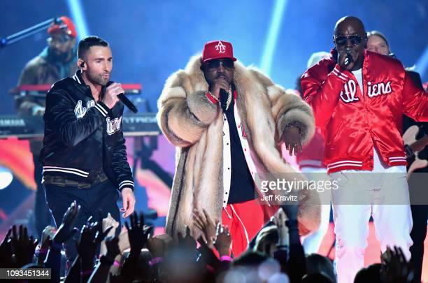 Adam Levine of Maroon 5, Big Boi, and Sleepy Brown perform during the Pepsi Super Bowl LIII Halftime Show at Mercedes-Benz Stadium on February 3,...