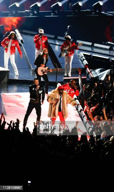 Adam Levine of Maroon 5 Big Boi and Sleepy Brown perform during the Pepsi Super Bowl LIII Halftime Show at MercedesBenz Stadium on February 03 2019...