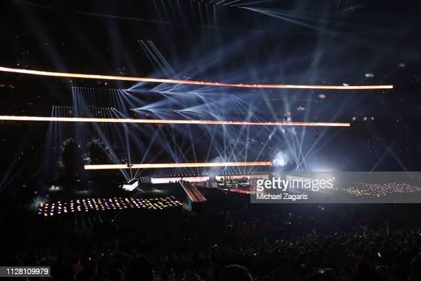 Adam Levine of Maroon 5 Big Boi and Sleepy Brown perform during the Pepsi Super Bowl LIII Halftime Show at MercedesBenz Stadium on February 03 2019...