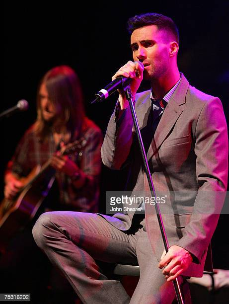 "Adam Levine of Maroon 5 performs at a press conference announcing their ""It Won't Be Soon Before Long"" tour at the House of Blues on July 9, 2007 in..."