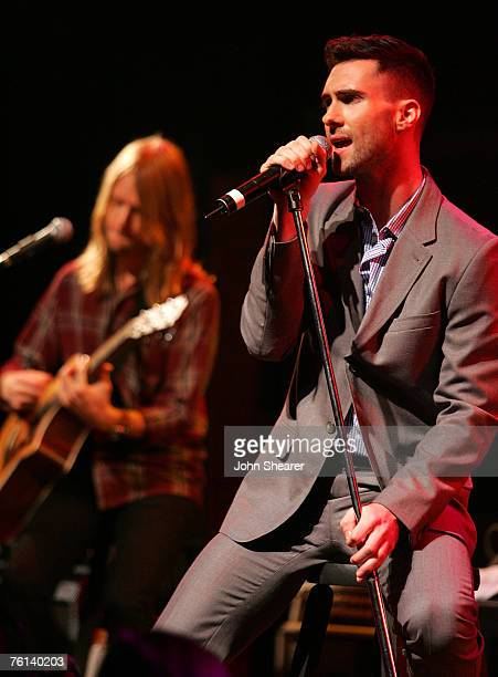 Adam Levine of Maroon 5 performs at a press conference announcing their It Won't Be Soon Before Long tour at the House of Blues on July 9 2007 in...