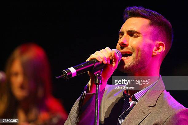 "Adam Levine of Maroon 5 performs at a press conference to announce their ""It Won't Be Soon Before Long"" tour at the House of Blues on July 9, 2007 in..."