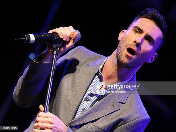 Adam Levine of Maroon 5 performs at a press conference to announce their It Won't Be Soon Before Long tour at the House of Blues on July 9 2007 in...