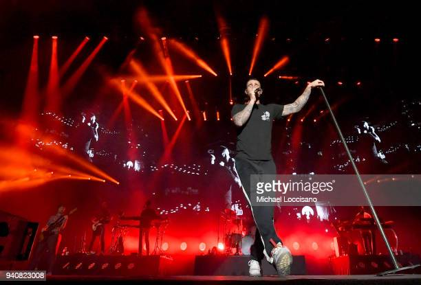 Adam Levine of Maroon 5 performs during the Capital One JamFest onstage at the NCAA March Madness Music Festival at Hemisfair on April 1 2018 in San...