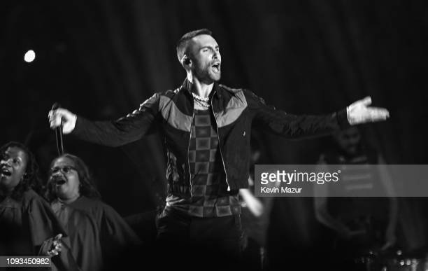 Adam Levine of Maroon 5 performs during the Pepsi Super Bowl LIII Halftime Show at Mercedes-Benz Stadium on February 3, 2019 in Atlanta, Georgia.
