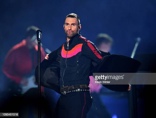 Adam Levine of Maroon 5 performs during the Pepsi Super Bowl LIII Halftime Show at MercedesBenz Stadium on February 3 2019 in Atlanta Georgia