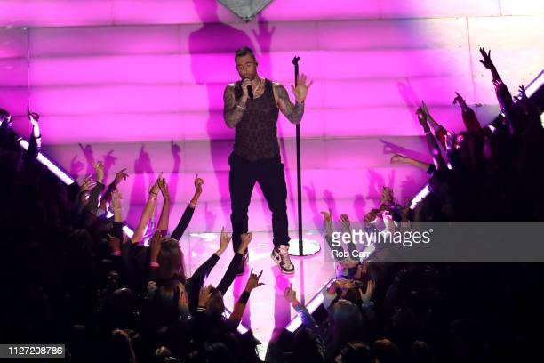 Adam Levine of Maroon 5 performs during the Pepsi Super Bowl LIII Halftime Show at MercedesBenz Stadium on February 03 2019 in Atlanta Georgia