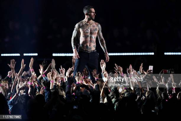 Adam Levine of Maroon 5 performs during the Pepsi Super Bowl LIII Halftime Show at MercedesBenz Stadium on February 03 2019 in Atlanta Georgia