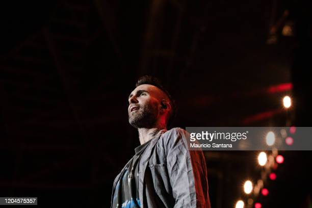 Adam Levine of Maroon 5 performs live on stage at Allianz Parque on March 1 2020 in Sao Paulo Brazil