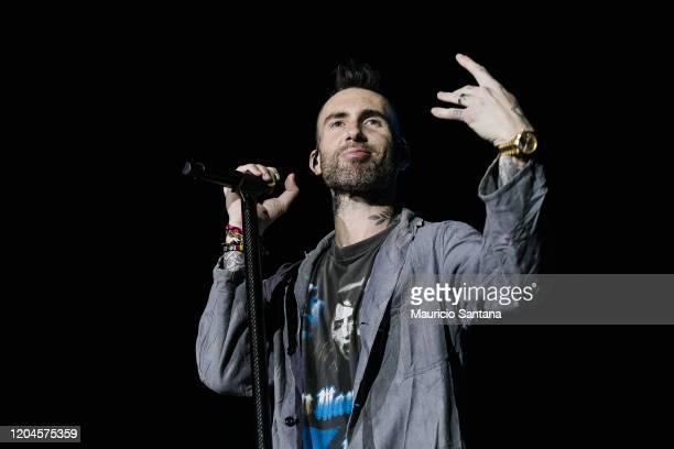 Adam Levine of Maroon 5 performs live on stage at Allianz Parque on March 1, 2020 in Sao Paulo, Brazil.