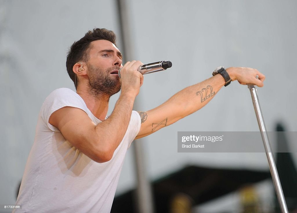 Adam Levine of Maroon 5 performs on ABC's 'Good Morning America' on June 27, 2008 at Bryant Park in New York City.