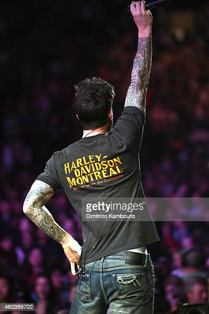 Adam Levine of Maroon 5 performs onstage during iHeartRadio Jingle Ball 2014 hosted by Z100 New York and presented by Goldfish Puffs at Madison...