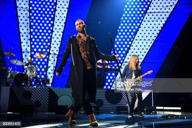 Adam Levine of Maroon 5 performs onstage during the 2018 iHeartRadio Music Awards which broadcasted live on TBS, TNT, and truTV at The Forum on March...