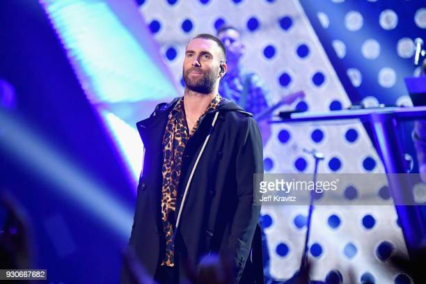 Adam Levine of Maroon 5 performs onstage during the 2018 iHeartRadio Music Awards which broadcasted live on TBS TNT and truTV at The Forum on March...