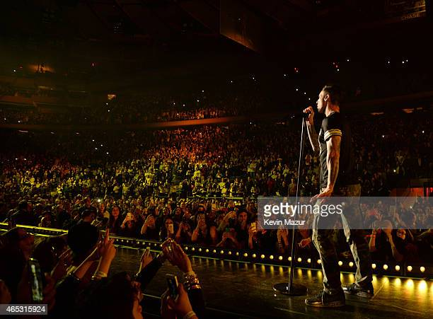 Adam Levine of Maroon 5 performs onstage during the V tour at Madison Square Garden on March 5 2015 in New York City
