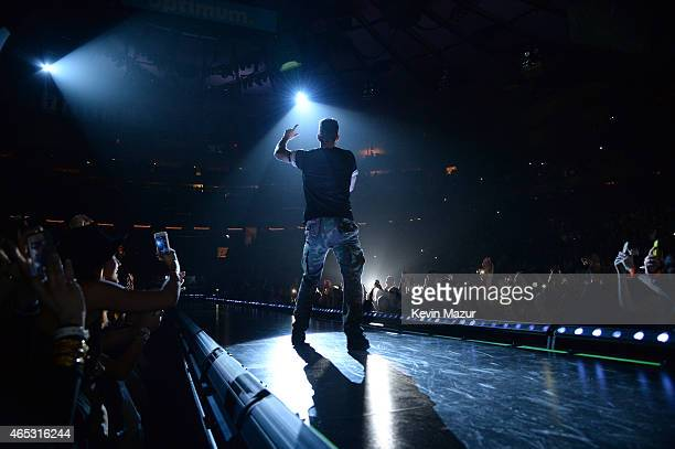 Adam Levine of Maroon 5 performs onstage during the 'V' tour at Madison Square Garden on March 5 2015 in New York City