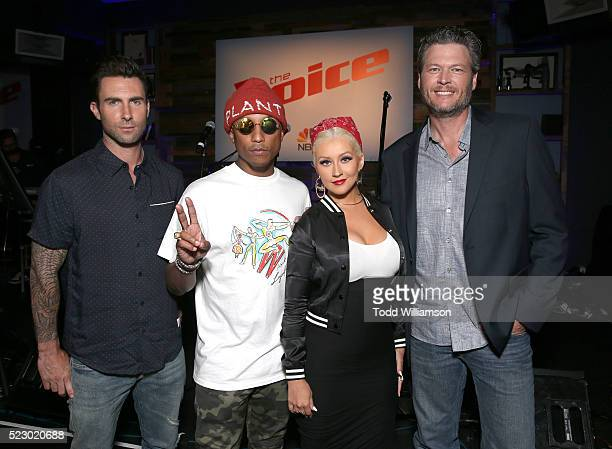 Adam Levine Pharrell Williams Christina Aguilera and Blake Shelton attend 'The Voice' Karaoke For Charity at HYDE Sunset Kitchen Cocktails on April...