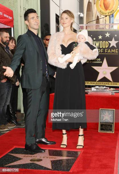 Adam Levine with Behati Prinsloo and their daughter, Dusty Rose Levine attends the ceremony honoring Adam Levine with a Star on The Hollywood Walk of...
