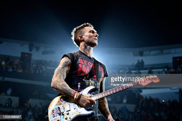 Adam Levine with Maroon 5 performs onstage during the Bud Light Super Bowl Music Fest on February 01 2020 in Miami Florida