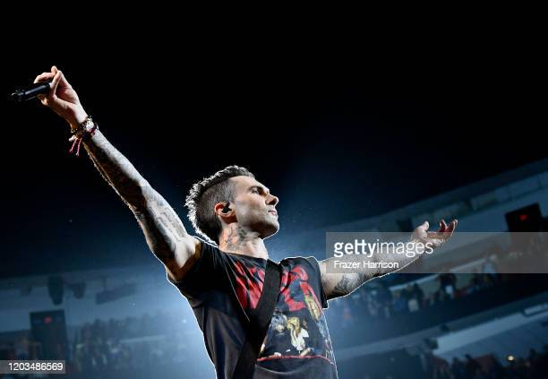 Adam Levine with Maroon 5 performs onstage during the Bud Light Super Bowl Music Fest on February 01, 2020 in Miami, Florida.