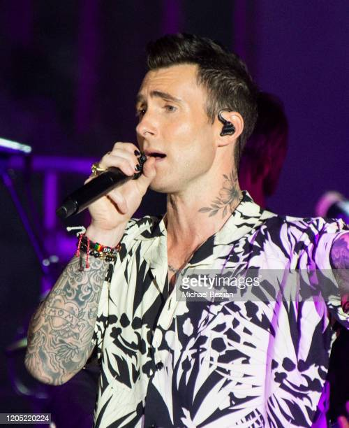 Adam Levine with Maroon 5 performs onstage during the Byron Allen's 4th Annual Oscar Gala to Benefit Children's Hospital Los Angeles on February 09,...
