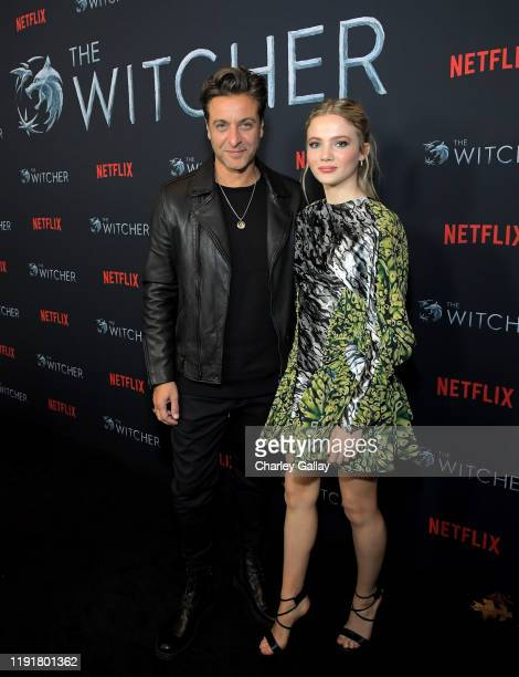 Adam Levy and Freya Allan attends Netflix The Witcher LA Fan Experience at the Egyptian Theatre on December 03 2019 in Los Angeles California