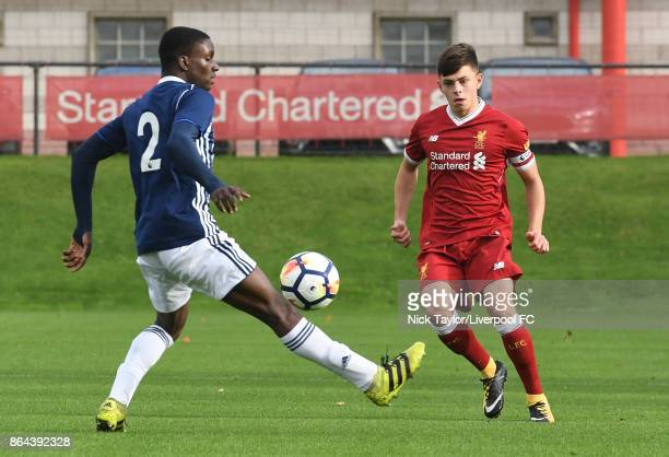 Adam Lewis of Liverpool and Aksum White of West Bromwich Albion in action during the Liverpool v West Bromwich Albion U18 Premier League game at The...