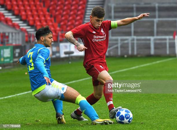 Adam Lewis of Liverpool and Giovanni Calvano of SSC Napoli in action during the UEFA Youth League match between Liverpool and SSC Napoli at Langtree...