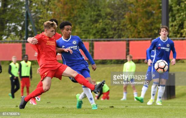 Adam Lewis of Liverpool and Jacob Maddox of Chelsea in action during the Liverpool v Chelsea U18 Premier League game at The Kirkby Academy on April...