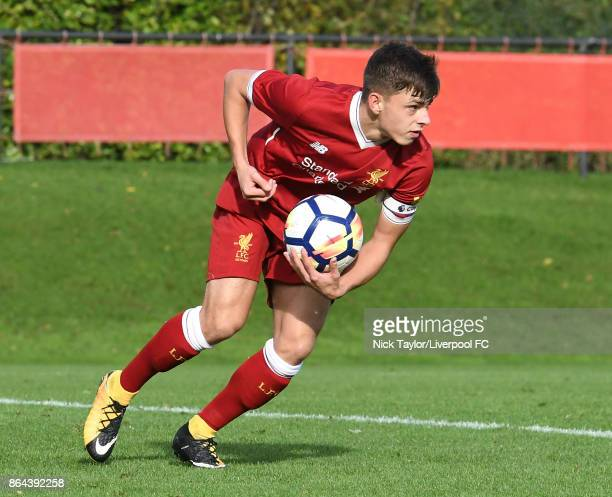 Adam Lewis of Liverpool celebrates his goal during the Liverpool v West Bromwich Albion U18 Premier League game at The Kirkby Academy on October 21...