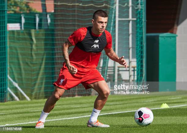 Adam Lewis of Liverpool during preseason training at Melwood Training Ground on July 7 2019 in Liverpool England