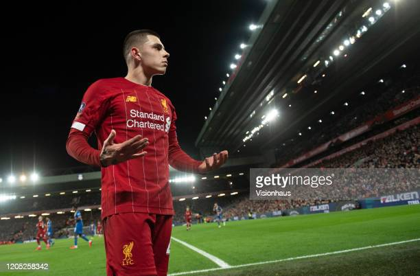 Adam Lewis of Liverpool during the FA Cup Fourth Round Replay match between Liverpool and Shrewsbury Town at Anfield on February 4 2020 in Liverpool...