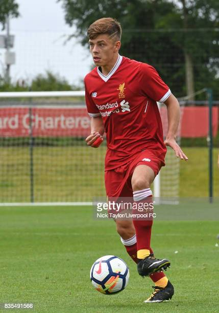 Adam Lewis of Liverpool during the Liverpool v Blackburn Rovers U18 Premier League game at The Kirkby Academy on August 19 2017 in Liverpool England