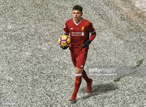 Adam Lewis of Liverpool during the Liverpool v Porto Premier League International Cup game at Leigh Sports Village on February 28 2018 in Leigh...