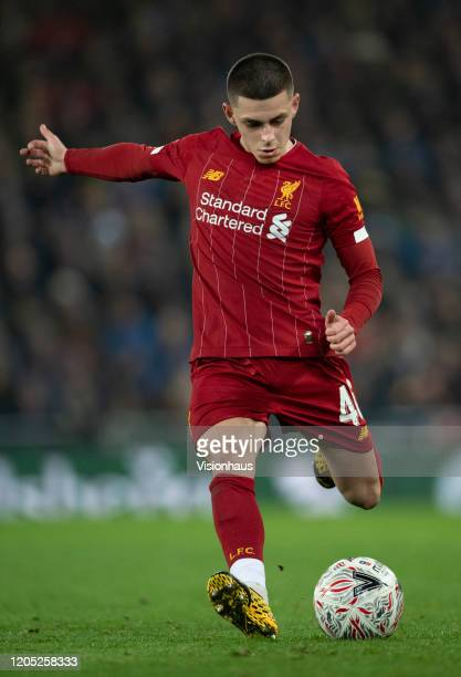 Adam Lewis of Liverpool in action during the FA Cup Fourth Round Replay match between Liverpool and Shrewsbury Town at Anfield on February 4 2020 in...