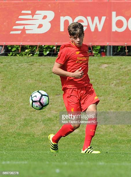 Adam Lewis of Liverpool in action during the Liverpool v Blackburn U18 game at the Kirkby Academy on August 15 2016 in Kirkby England