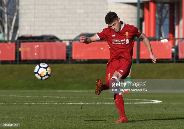 Adam Lewis of Liverpool in action during the Liverpool v West Ham United PL2 game at The Kirkby Academy on February 17 2018 in Kirkby England