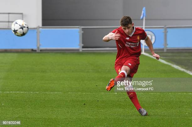 Adam Lewis of Liverpool in action during the Manchester City v Liverpool UEFA Youth League game at Manchester City Football Academy on March 14 2018...