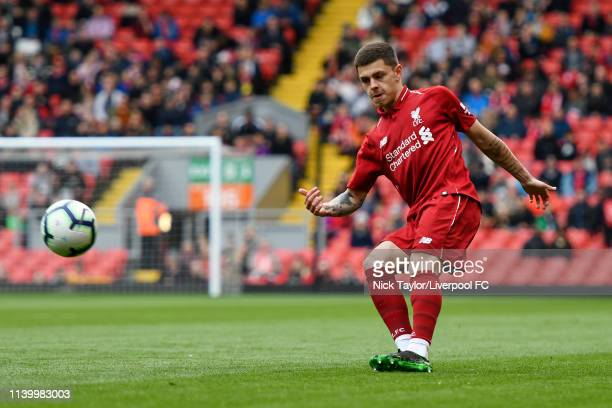 Adam Lewis of Liverpool in action during the PL2 match at Anfield on April 28 2019 in Liverpool England