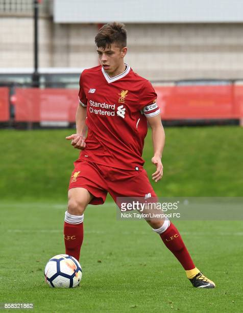 Adam Lewis of Liverpool in action during the U18 friendly match between Liverpool and Burnley at The Kirkby Academy on October 6 2017 in Kirkby...