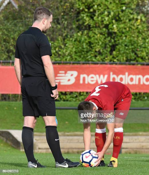 Adam Lewis of Liverpool places the ball on the penalty spot during the Liverpool v West Bromwich Albion U18 Premier League game at The Kirkby Academy...