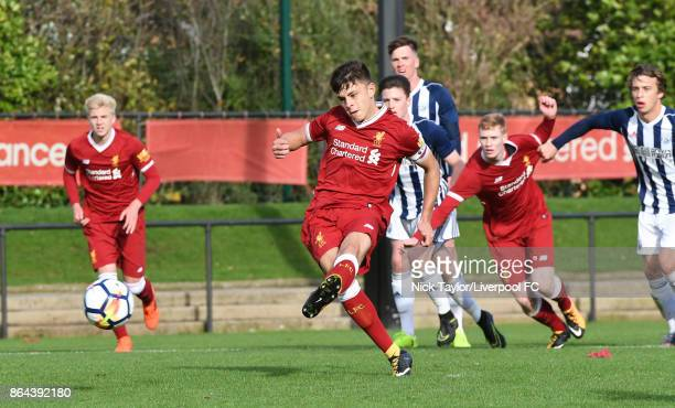 Adam Lewis of Liverpool scores from the penalty spot during the Liverpool v West Bromwich Albion U18 Premier League game at The Kirkby Academy on...