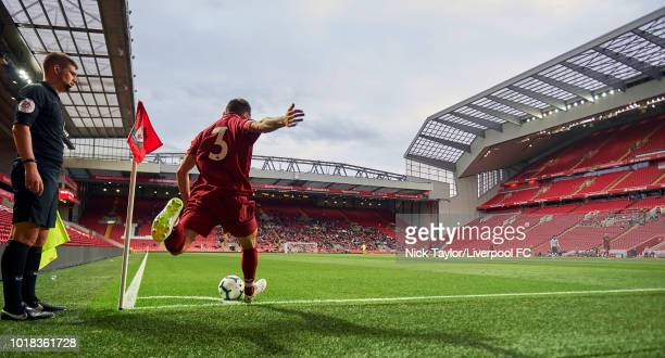Rhian Brewster of Liverpool looks on from the dugout during the Premier League 2 match between Liverpool at Tottenham Hotspur at Anfield on August 17...